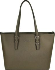 Groene Flora & Co Shoulder Bag Saffiano Khaki Green
