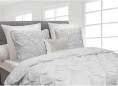 Witte Heckettlane Dekbedovertrek Cromer - Licht Grijs - 1-persoons (140 x 220 cm + 1 kussensloop) - Katoensatijn - Grijs - Heckett Lane