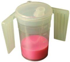 Transparante Comforthulpmiddelen Drinkbeker met platte handgrepen en twee tuitdeksels