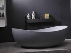 Mawialux vrijstaand bad | Solid surface | 180x109cm | Mat grijs | ML-102-VBMG-MG