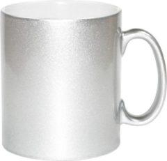Bellatio Decorations 4x zilveren koffie/ thee mokken 330 ml - geschikt voor sublimatie drukken - Zilveren onbedrukte cadeau koffiemok/ theemok