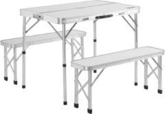 Casaria Campingbank 3 stuks wit aluminium opvouwbaar - inklapbaar