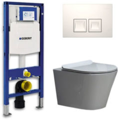 Douche Concurrent Geberit UP 100 Toiletset - Inbouw WC Hangtoilet Wandcloset- Flatline Saturna Delta 50 Wit