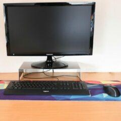 Roestvrijstalen Merkloos / Sans marque Geborsteld RVS Monitor verhoger | 8cm hoog | 20kg max.