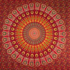"Sankalpa® Biologisch katoen Groot Mandala kleed ""Red"" 225 x 200 m – Bedsprei – Strandlaken - Picknickkleed - Wanddecoratie – Groot wandkleed - Rood"