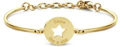 CO88 Collection Inspirational 8CB 90338 Stalen Armband met Hanger - Ster en Shine Like a Star 17 mm - One-size - Goudkleurig