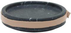 Zwarte TAK Design Serveerschaal Carlo - Incl. Lederen Band - Marmer - 11 x 2,5 cm - Zwart