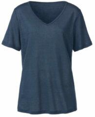 Enna Linnen T-shirt met V-hals, indigoblauw 44