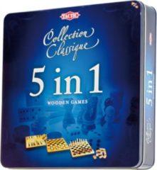 Selecta Spellen 5 in 1 Hout - Schaken, Dammen, Tic Tac Toe, Backgammon en Domino - Gezelschapsspel