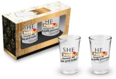 Transparante Ingifts Set van 2 shotglaasjes She buys + He pays