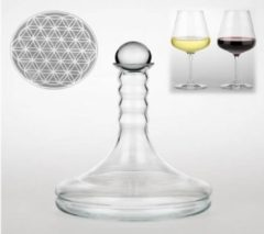 Zwarte Yogi & Yogini naturals Vitaal wijnkaraf Rubellum met Bloem des Levens wit 1000 ml
