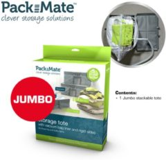 Transparante Packmate Jumbo Stackable Storage Tote - Vacuüm opbergzak met box - Vacuümzak - Kleding Opbergen
