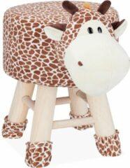Bruine Relaxdays Kinderkruk - kinderpoef - decoratie - hocker met pootjes - dieren design Giraf