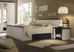 Bett 180 x 200 cm mit 2 Nachtkommoden Pinie weiss/ Touchwood PolPower Luca