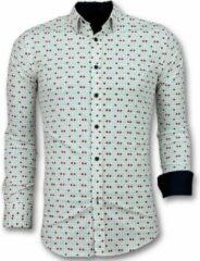Tony Backer Heren Overhemden Slim Fit - Tetris Motief Heren Hemd - 3023 - Beige Casual overhemden heren Heren Overhemd Maat M
