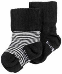 KipKep Blijf-Sokjes - Maat 6-12 mnd - Zwart-wit gestreept - 2 paar