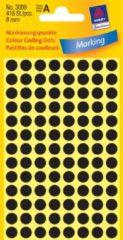 Avery-Zweckform 3009 Etiketten à 8 mm Papier Zwart 416 stuk(s) Permanent Etiketten voor markeringspunten