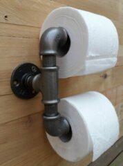 Guniek Industriële Dubbele Toiletrolhouder van stalen buis – Incl. bijbehorende schroeven - Wc-rol houder - Retro - Robuust - Landelijk - Handgemaakt