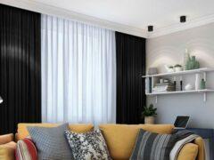 House of Curtains Lemoni Kant en klaar Gordijn - Verduisterend -Met Plooiband - 300x260 cm - Zwart - 1 Stuk