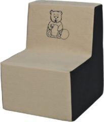 Go Go Momi Zachte foam stoel, borduurwerk, kinderen, comfortabel, zetel, kinderdagverblijf, Kids meubels, spelen, ontspannen - beige en grijs