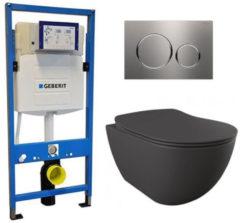 Douche Concurrent Geberit UP 320 Toiletset - Inbouw WC Hangtoilet Wandcloset - Creavit Mat Antraciet Geberit Sigma-20 RVS Geborsteld