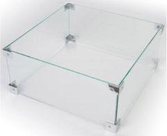 Transparante Happy Cocooning Glazen Ombouw Cocoon Table Inbouwbrander - Vierkant 40 X 40 X 17 Cm