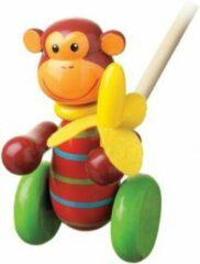 Playwood Houten duwstok aap met banaan loopstok duwfiguur