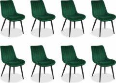 IN-HOME Eetkamerstoelen Set van 8 Loui - Groen - Metaalpoot - Fluweel - Velvet eetstoel