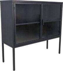 HSM Collection Vitrinekastje - 90x32x85 - Donkergrijs - Metaal/glas