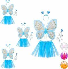 Blauwe Relaxdays 4 x fee kostuum kinderen - vlindervleugels - kinderkostuum - toverstaf – diadeem