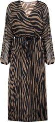 Geisha semi-transparante maxi jurk met zebraprint en ceintuur bruin/zwart