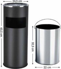 SONGMICS Asbak voor buitengebruik Vuilnisbak met asbak Afvalbak met binnenbak 60,5 x 24,5 cm 30L zwart LTB17C