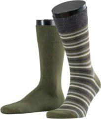 Esprit Multistripe 2-PACK Sokken Heren 17863 - Groen 7617 dark moss Heren - 43-46