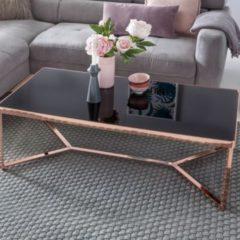 Wohnling Design Couchtisch Glasplatte Schwarz / Gestell Kupfer 120 x 60 x 40 cm Wohnzimmertisch verspiegelt Sofatisch modern Glastisch Kaffeetisch e