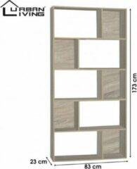 Beige Urban Living - Moderne boekenkast met 5 planken - L 173 x B 83 x D 23 - Vierkante vakken
