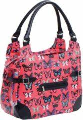 Willex Shopper - Enkele Fietstas - 13 liter - Fuchsia Butterfly