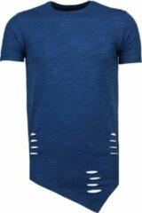 Blauwe Tony Backer Sleeve Ripped - T-Shirt - Navy Sleeve Ripped - T-Shirt - Navy Heren T-shirt Maat L