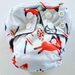 Merkloos / Sans marque AN11 AIO Newborn wasbare Pocket luier vos wit