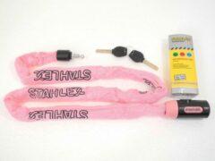 Deltafix Stahlex Ø5mm / 120cm kettingslot fietsslot | 635g ideaal gewicht voor een fietser | zeer goede kwaliteit | roze
