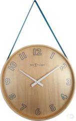 Bruine NeXtime Loop Blauw - klok - Rond- Hout en stof - Stil uurwerk - Ø 40 cm - Blauw