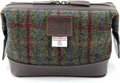 Groene The British Bags Company Toilettas Breanaise Leer & Harris Tweed
