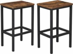 MIRA Home - Barkrukken set van 2 - Industrieel - Hout/Metaal - Zwart/bruin - 40x30x65