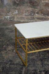 Gouden Livingfurn Salontafel | Rectangular | Marmer | White Gold | 90x40 cm