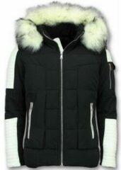 Witte Enos Heren Winterjas – Met Nep Bontkraag – Zwart Heren Jas XL