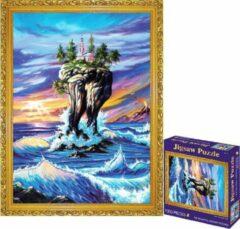 White Rhinoceros Jigsaw Legpuzzel 'Castle In The Sky' Puzzel 1000 Stukjes Volwassenen Legpuzzels - Met Extra Voorbeeldposter - Museum Puzzel - Natuur - Dieren - Stad - Kunst - Hobby Speelgoed - Legpuzzels Volwassenen Kinderen - 50*70 cm - Vaderdag Kados
