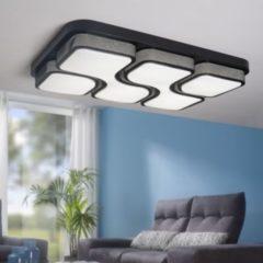 Wohnling Design LED-Deckenleuchte GEOMETRIC Deckenlampe schwarz 48W A+ 78x9x53 cm Design Lampe 4080 Lumen warmweiß Leuchte Metall mit 4 Lichtfeldern