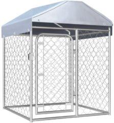 Zilveren VidaXL Hondenkennel voor buiten met dak 100x100x125 cm