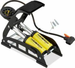 Relaxdays voetpomp - fietspomp met manometer - luchtpomp - voet pomp - autoventiel - geel