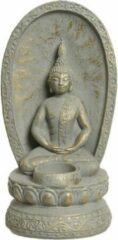 Merkloos / Sans marque Waxinelichthouder boeddha cement 11.5x13.5x26cm grijs/goud Buddha