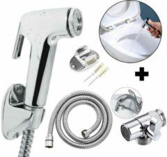 Zilveren Triple Bidet Set Handdouche + Kraankoppelstuk / Omstelkraan - met Slang Ophangbeugel Chrome - Wc Toiletdouche -Douche Toilet Sproeier - Luier Sprayer set - Shataf Bidets